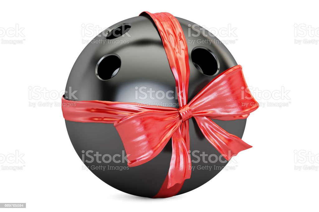 bowling ball with bow and ribbon closeup, gift concept. 3D rendering  isolated on  white background stock photo