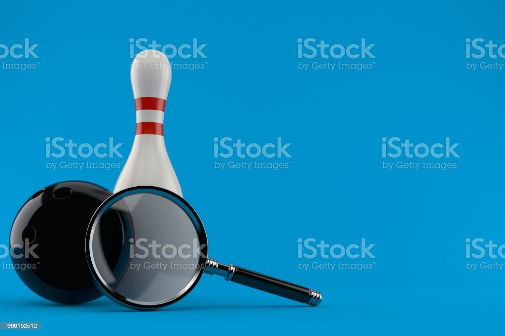 Bowling ball with pin and magnifying glass - Royalty-free Analyzing Stock Photo