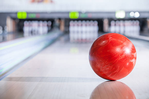 Bowling ball with pins. stock photo