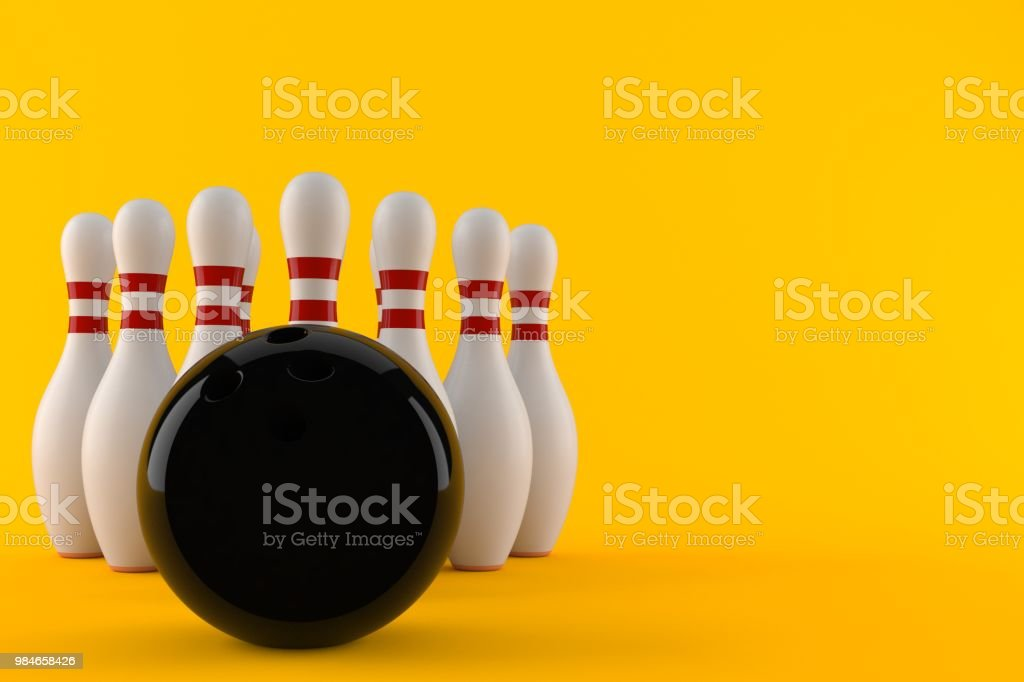 Bowling ball with pins isolated on orange background. 3d illustration