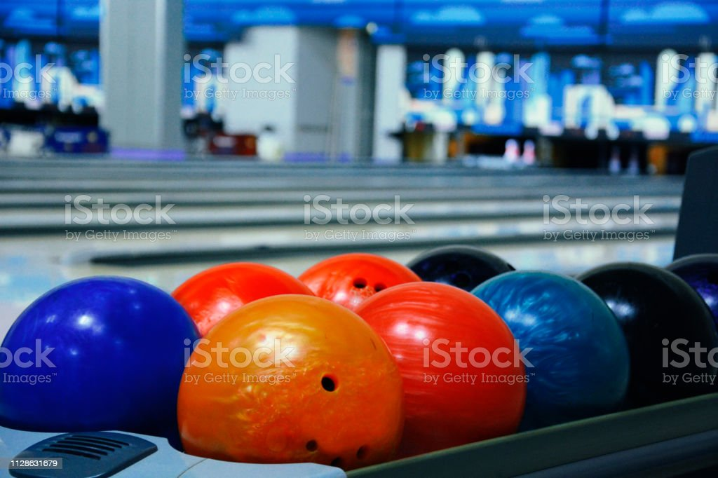 Bowling Balls in a Row stock photo