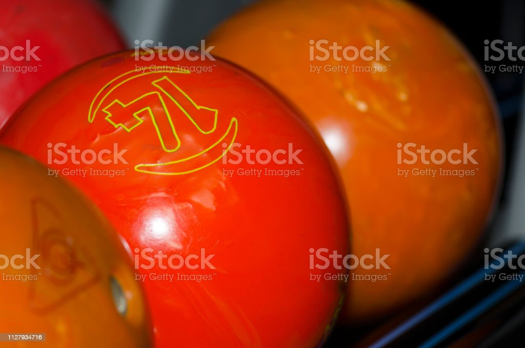 Close up image of bowling balls