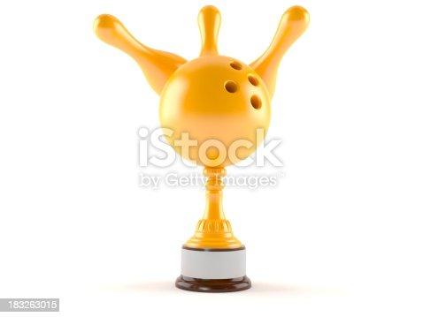 Bowling award isolated on white background