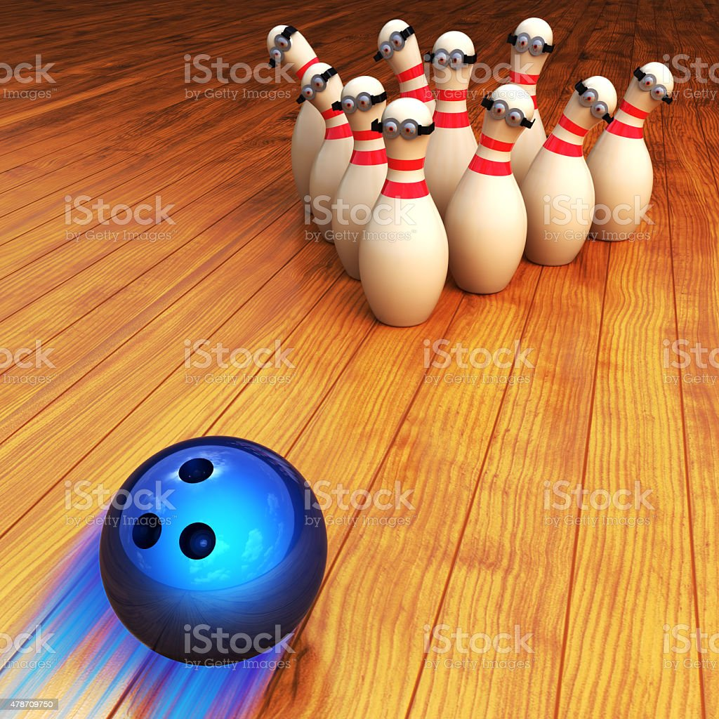 Bowling game illustration and strike concept stock photo