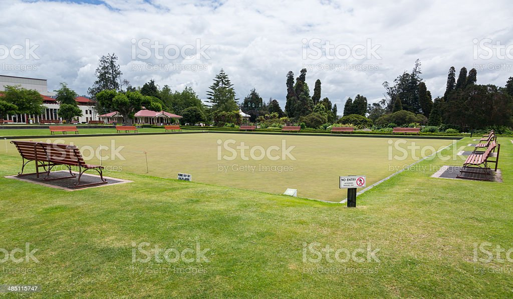 Bowling green in Rotorua Government Park NZ stock photo