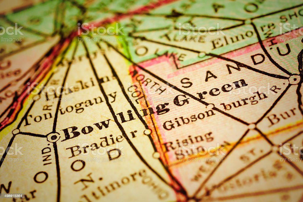 Bowling Green, Ohio on an Antique map stock photo