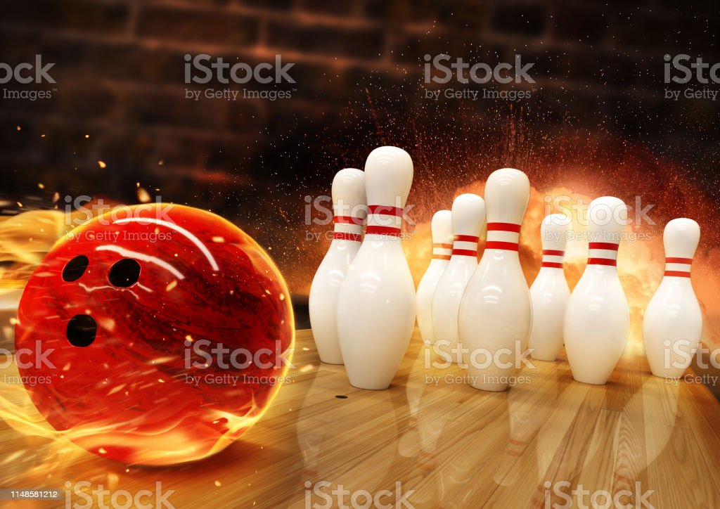 Bowling hit with fire ball rolling on the floor. Concept of success...