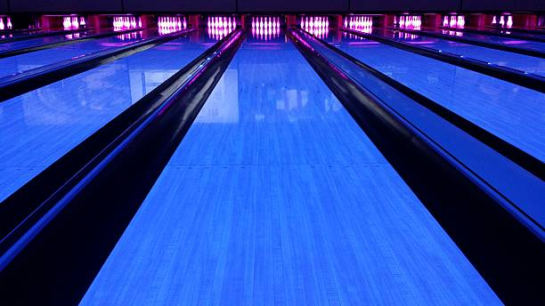 bowling lane black light stock photo