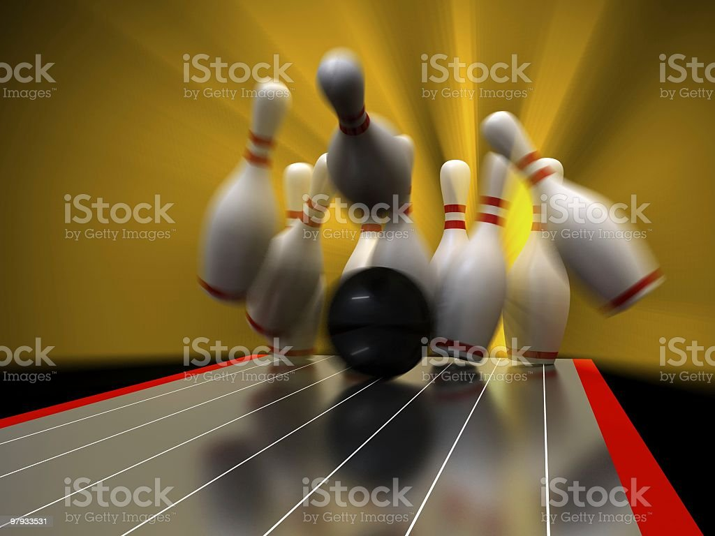 3D bowling royalty-free stock photo