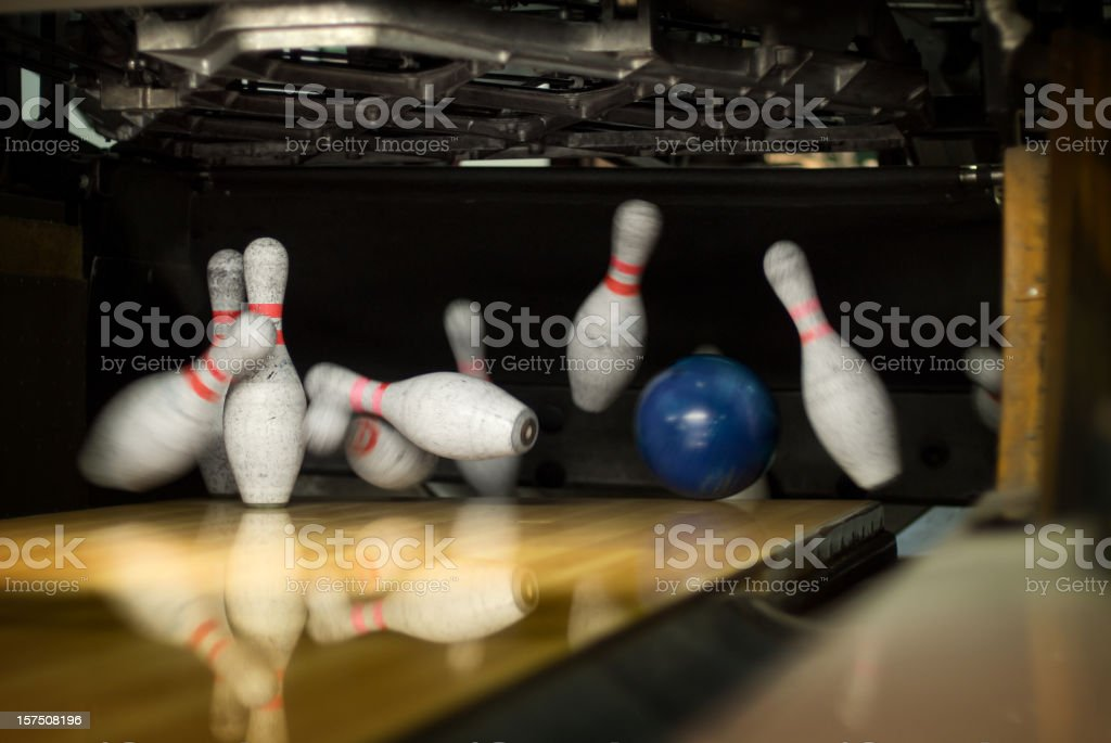 Bowling Pin Action stock photo