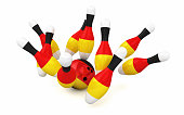 Bowling pin & ball Germany flag coating