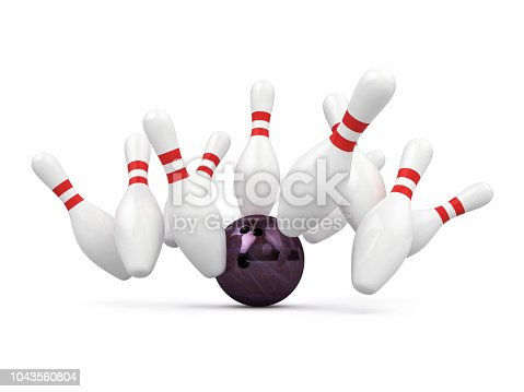 3d render Bowling pin & Ball (isolated on white and clipping path)