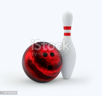 Bowling Pin with red ball isolated on white. Clipping path. Render 3d illustration