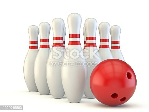 Bowling pins and ball 3D render illustration isolated on white background