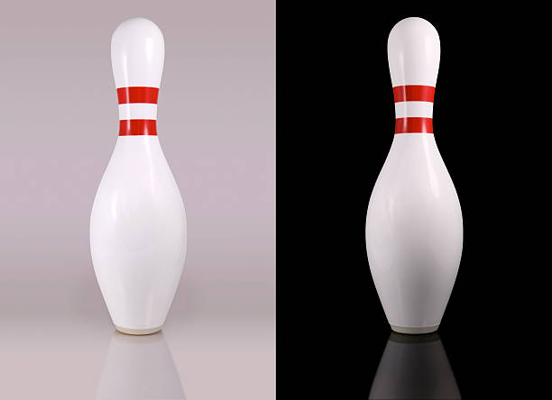 Bowling Pins on black and white backgrounds stock photo