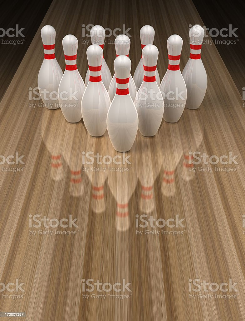 Bowling pins on wooden bowling alley stock photo