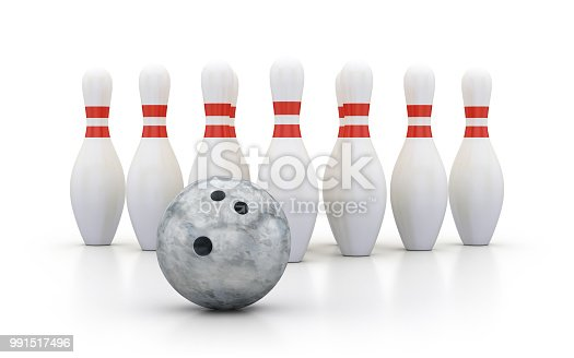 Ten bowling pins with silver marble bowl on white background, 3d render