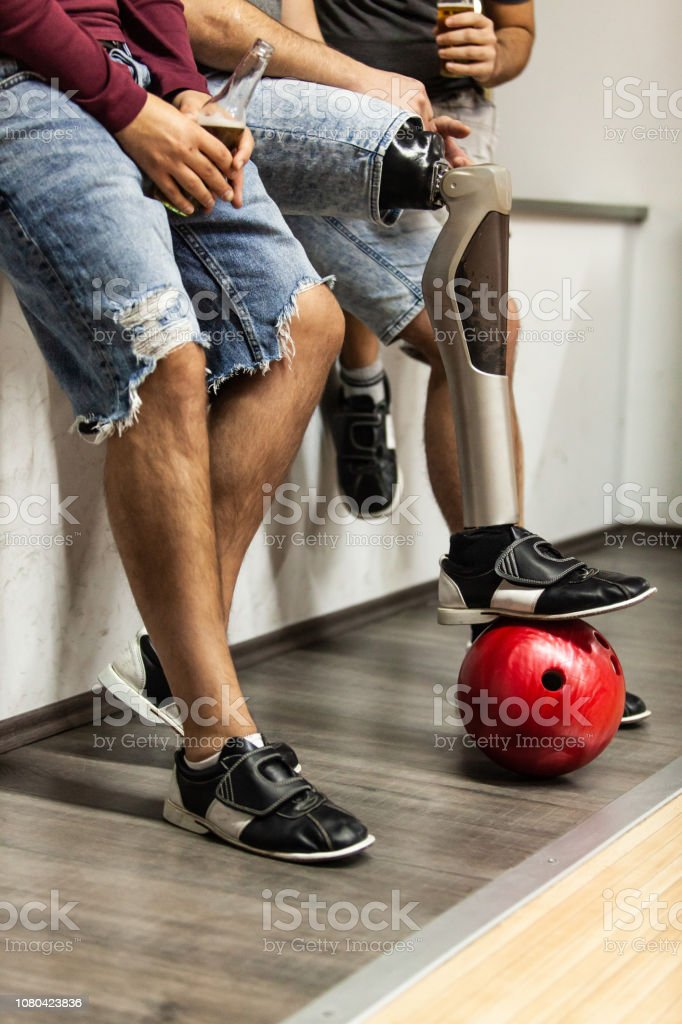 Bowling players resting after the game stock photo
