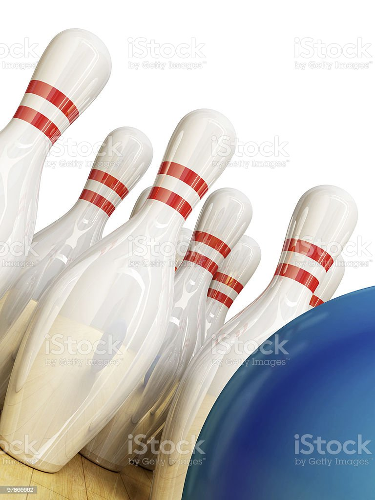 Bowling pyramid with the blue ball royalty-free stock photo