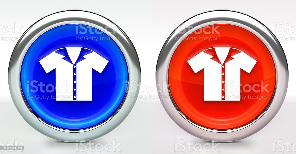 Bowling Shirt Icon on Button with Metallic Rim stock photo