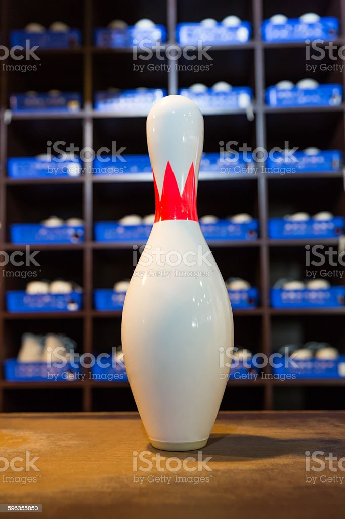 Bowling shoes and pins royalty-free stock photo