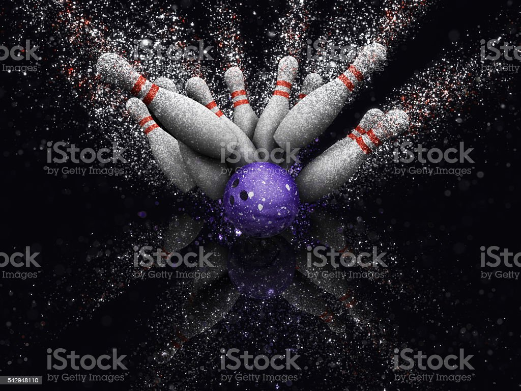 3D bowling skittles with glitter effect stock photo