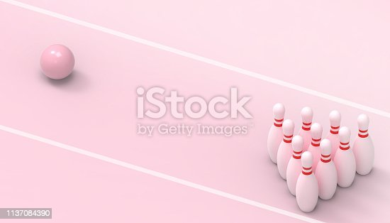 Bowling Sports and game futuristic on pink background  for  Summer- holidays -  3d rendering