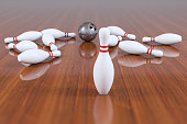 Bowling , Standing Out From The Crowd , Blurred Motion. 3D Rendering.