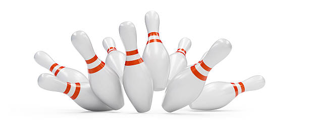 bowling strike 3D rendering, on a white background stock photo
