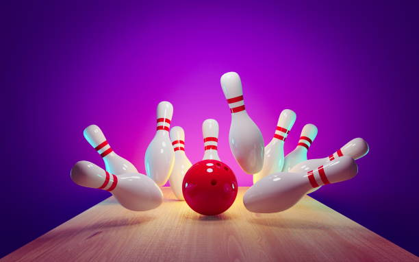 Bowling strike - ball hitting pins in the alley 3d render Bowling strike - ball hitting pins in the alley 3d render ten pin bowling stock pictures, royalty-free photos & images