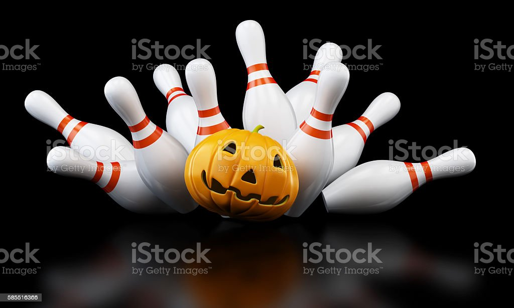 bowling strike halloween. 3D illustration stock photo