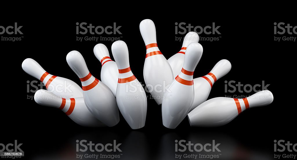 bowling strike on black background. 3d Illustrations - foto stock