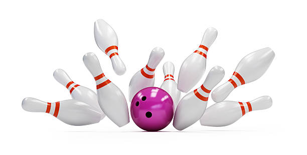 bowling strike on white background. 3d Illustrations stock photo