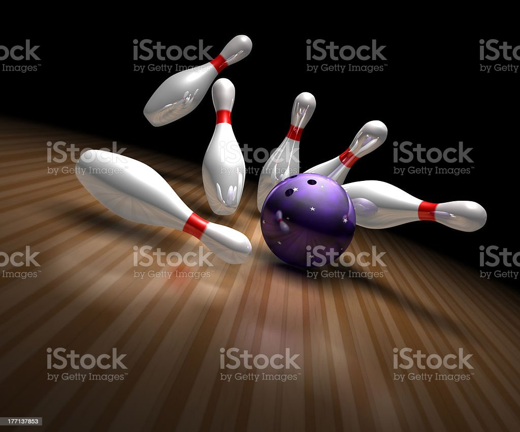 strike in bowling - foto stock