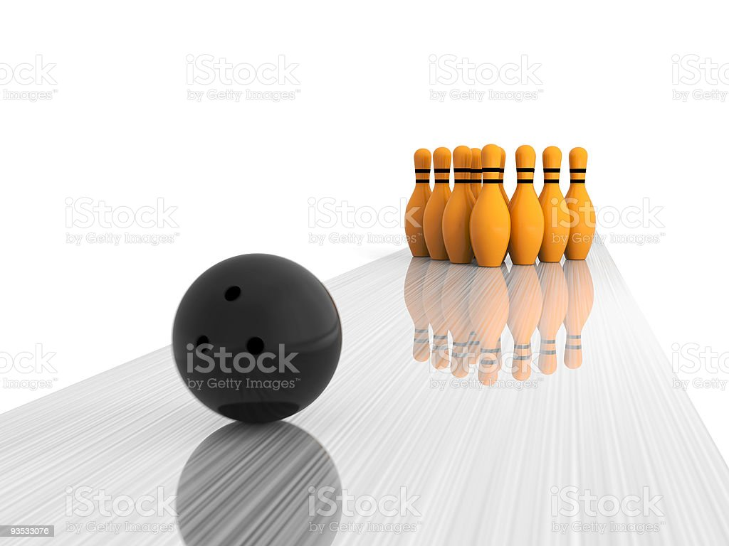 Bowling - The sphere strikes stock photo