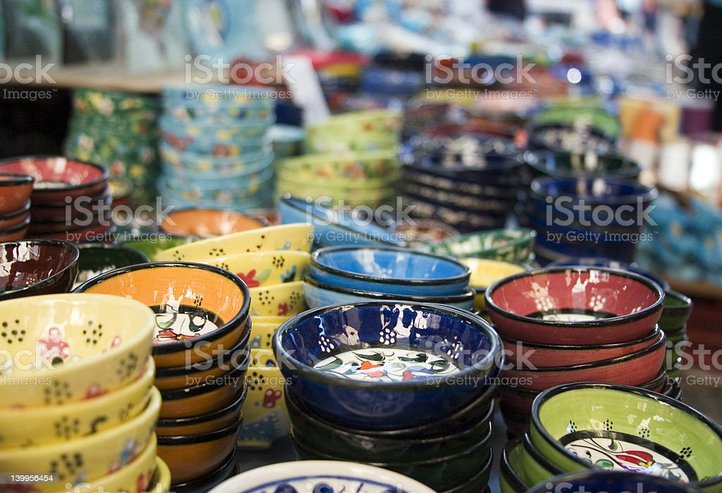Bowls in the bazaar royalty-free stock photo