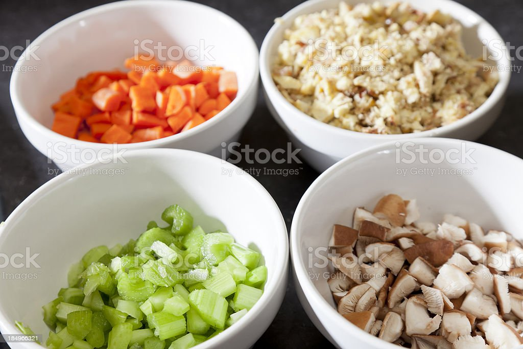Bowls of Chopped Vegetables royalty-free stock photo