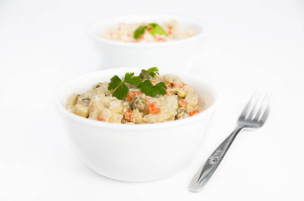 Bowls of potato salad with fork on isolating background