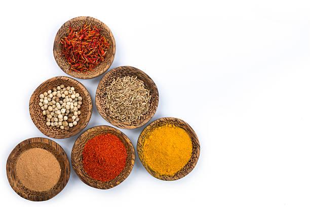 bowls of spices isolated on white - saffron on white bildbanksfoton och bilder