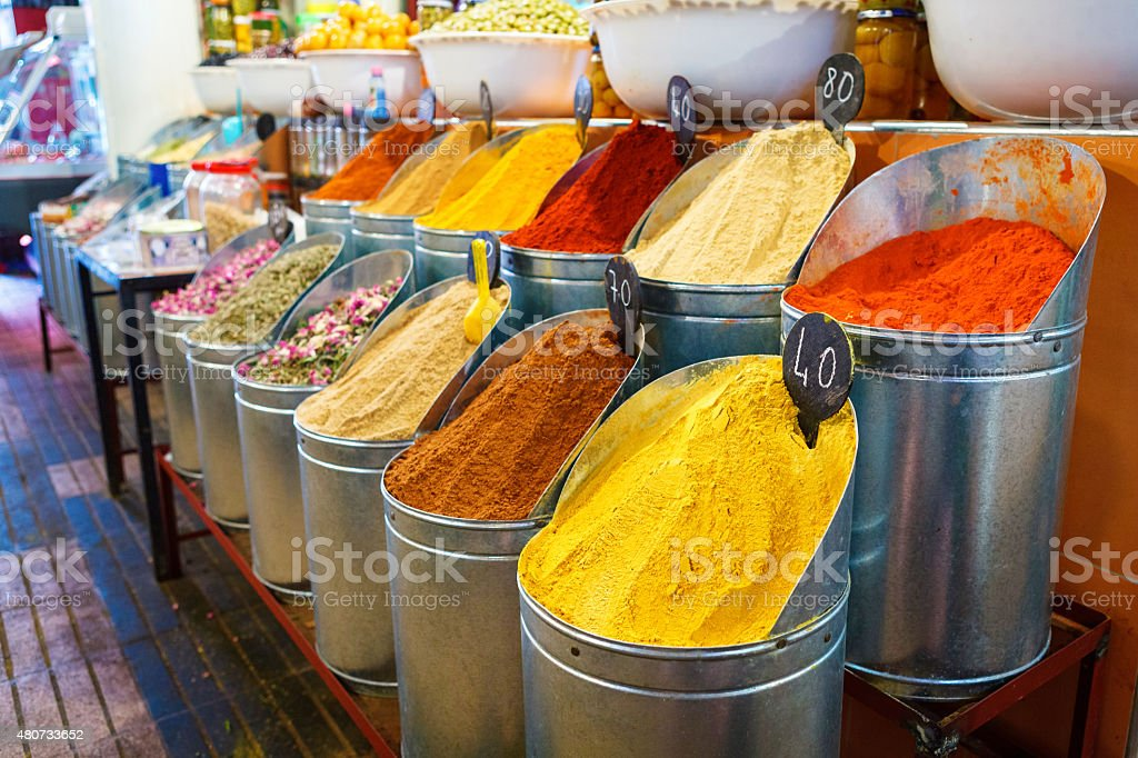 Bowls of spices on the market in Marrakech, Morocco stock photo