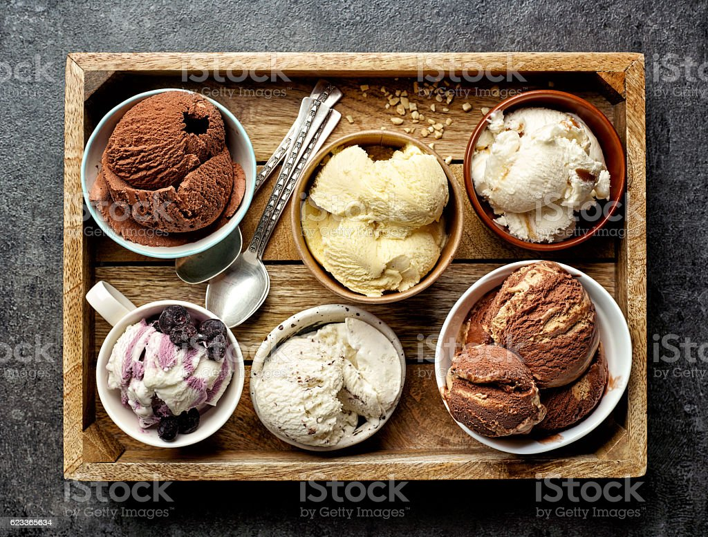 bowls of various ice creams stock photo
