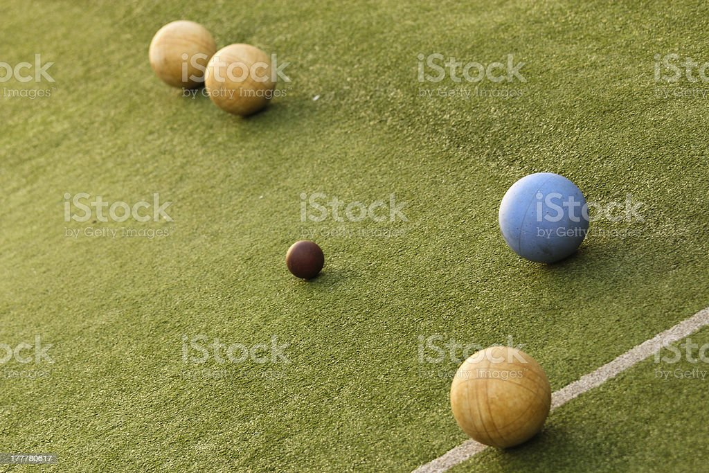 Bowls on a bowling green stock photo