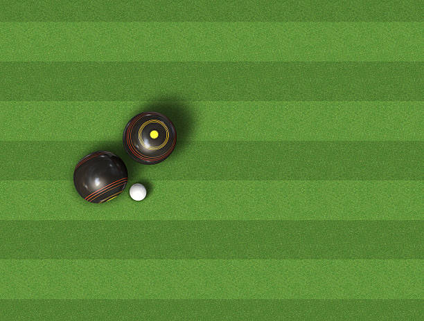 Bowls On Lawn stock photo