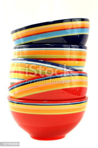 Colorful striped bowls.