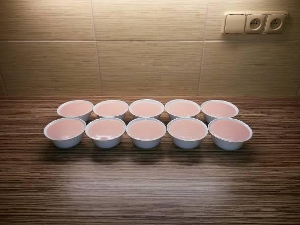 bols en porcelaine avec pudding sur le comptoir de la cuisine et tuile sur backgroud - pudding au lait roses photos et images de collection