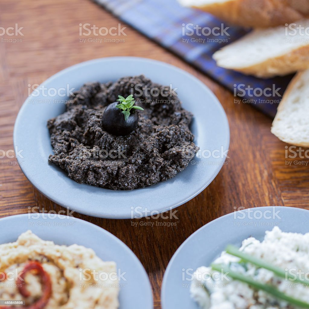 Bowls with healthy sandwich pastes stock photo