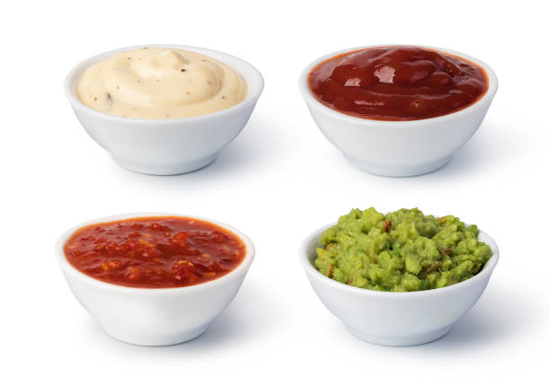 Bowls with sauces Bowls with sauces on white background salsa sauce stock pictures, royalty-free photos & images