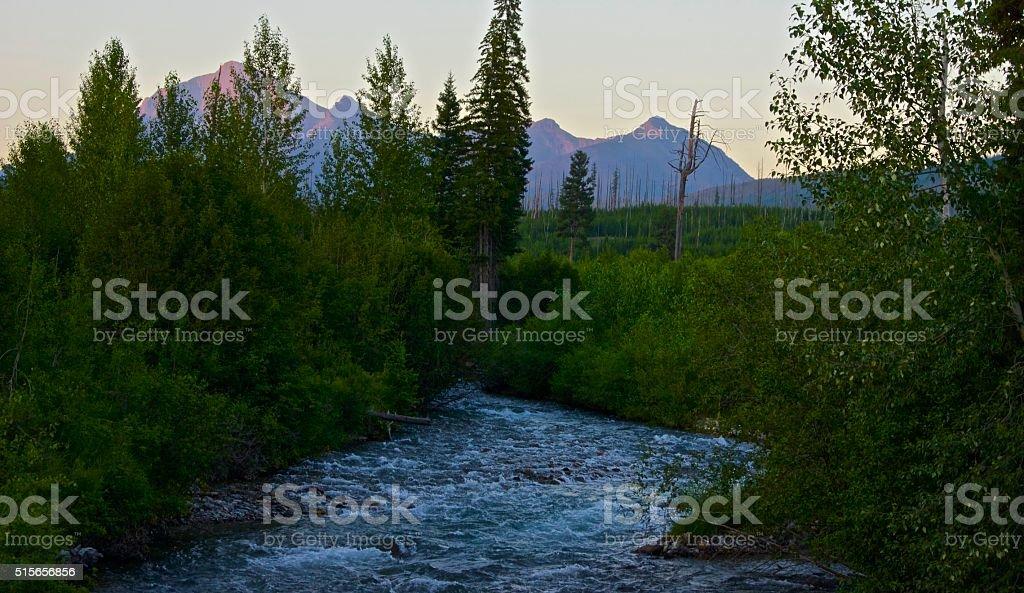 Bowman Creek Sunset stock photo