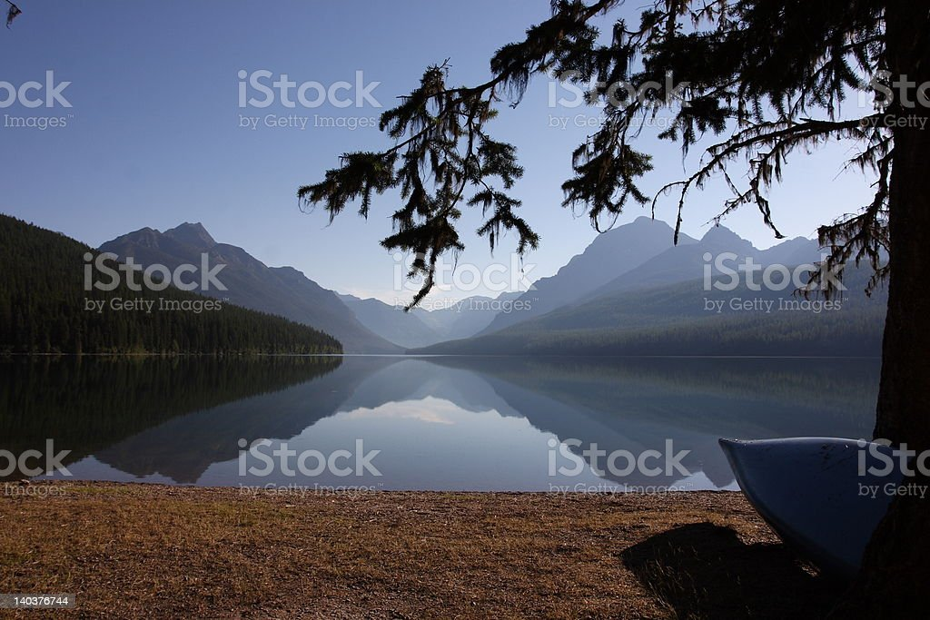 Bowman Lake at Dawn royalty-free stock photo