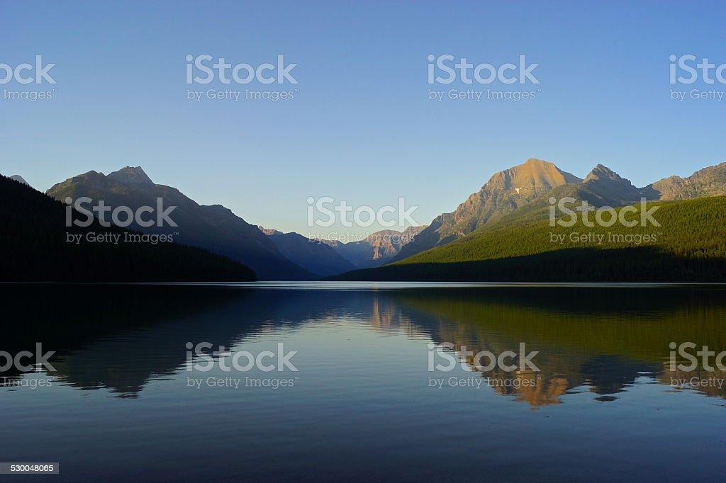 Bowman Lake Radiance stock photo